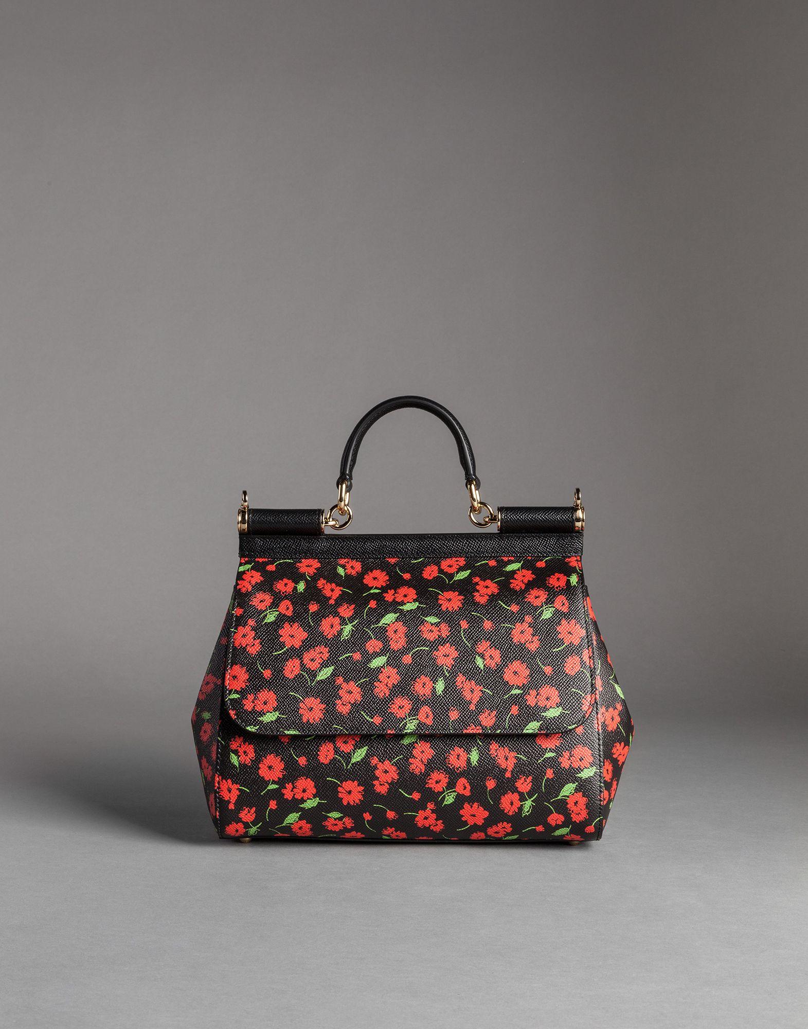 999f5d214b6 Dolce & Gabbana Flower Print Dauphine Calfskin Medium Sicily Bag in ...