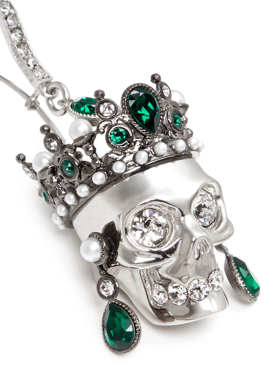 alexander mcqueen swarovski crystal royal skull earrings