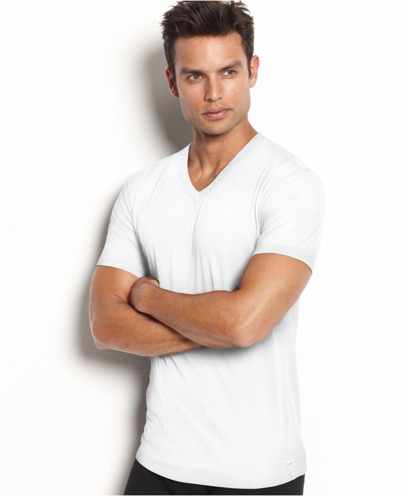 Calvin klein men 39 s stretch cotton v neck t shirt 2 pack for White v neck shirt mens