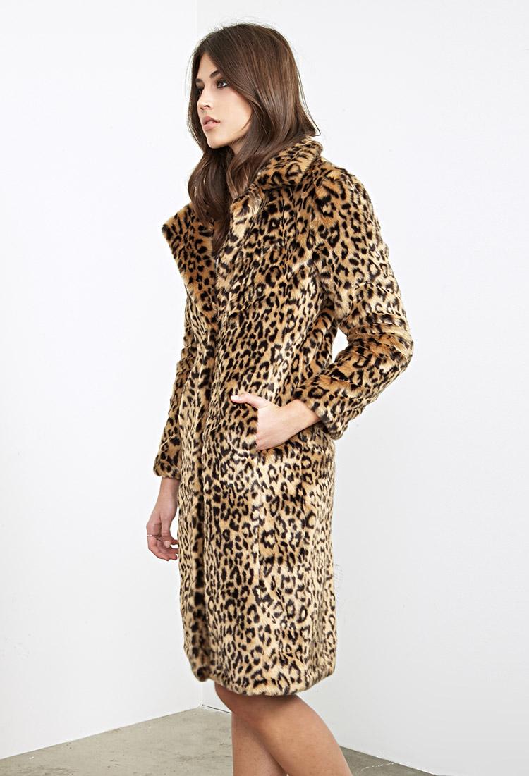 f73baa60cf5d Faux Fur Cheetah Print Coat Forever 21 Tradingbasis. Black Leather Skirt  Pleated Faux