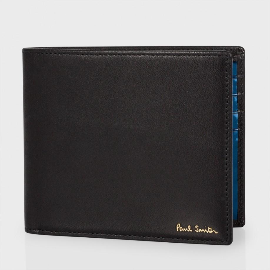 Paul Smith Men 39 S Metallic Blue Interior Leather Billfold Wallet In Blue For Men Lyst