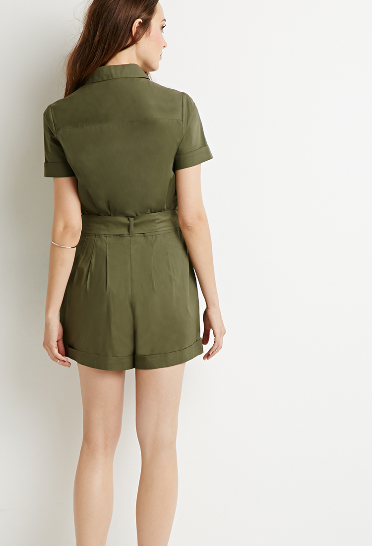 403e99dd782c Lyst - Forever 21 Contemporary Belted Utility Romper You ve Been ...
