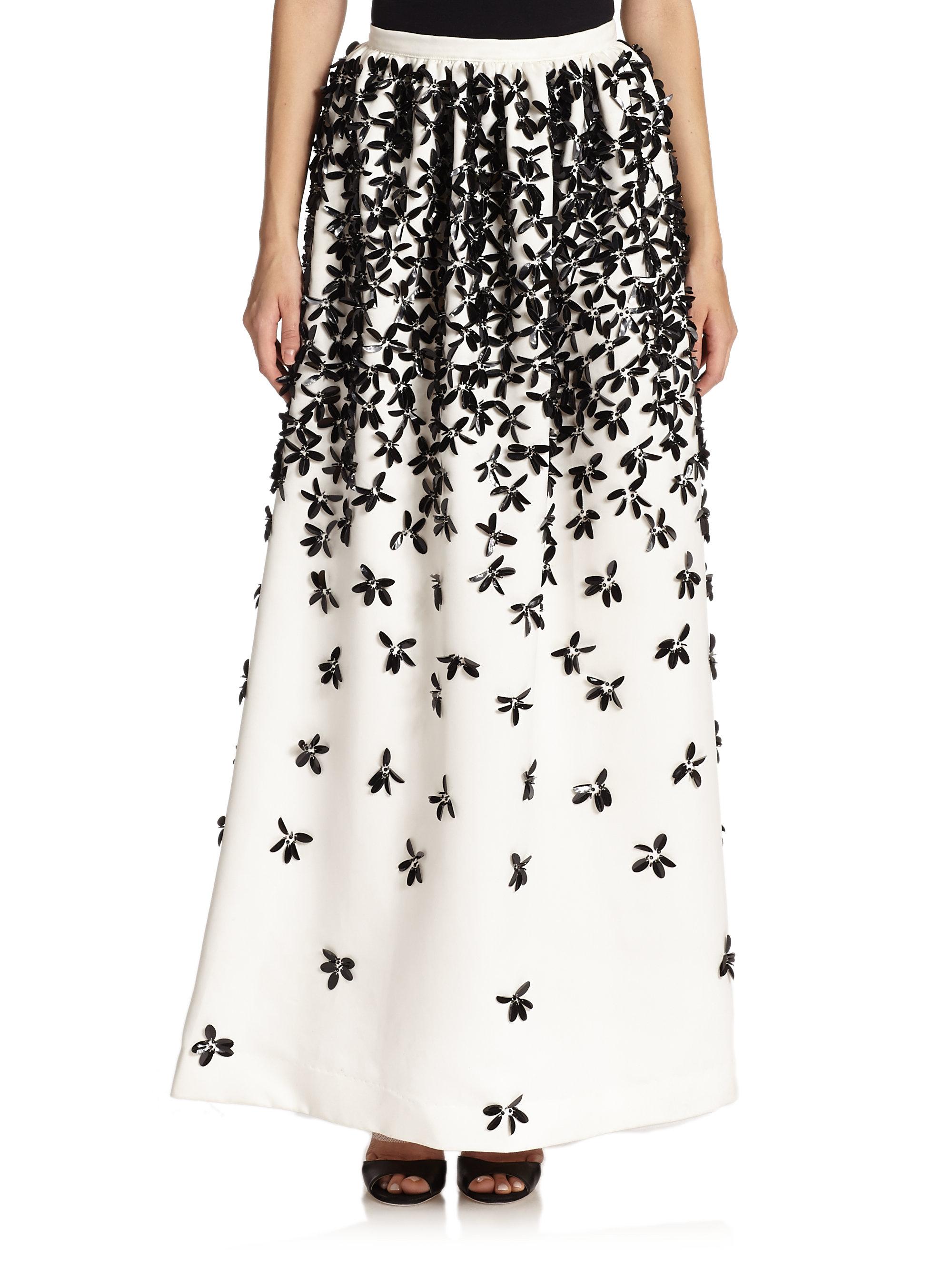 Parker black Lenore Beaded Floral Skirt in White | Lyst