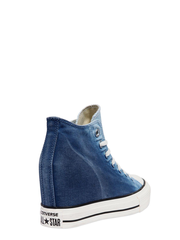 Converse 80mm Star Mid Lux Denim Wedge Sneakers In Blue Lyst