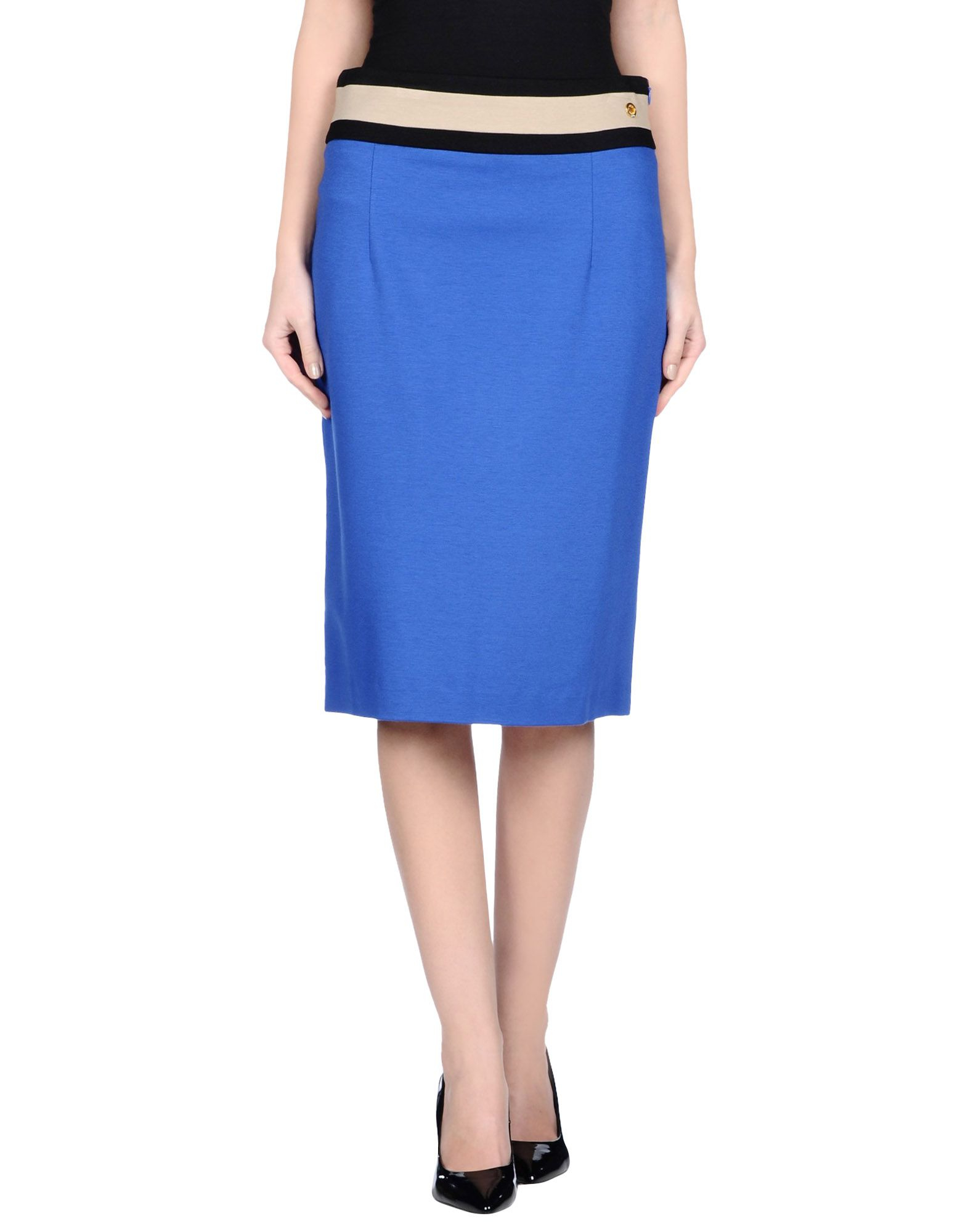 angelo marani knee length skirt in blue save 46 lyst