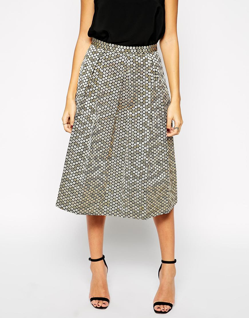 Girls on film Sequin Effect A Line Midi Skirt in Gray | Lyst