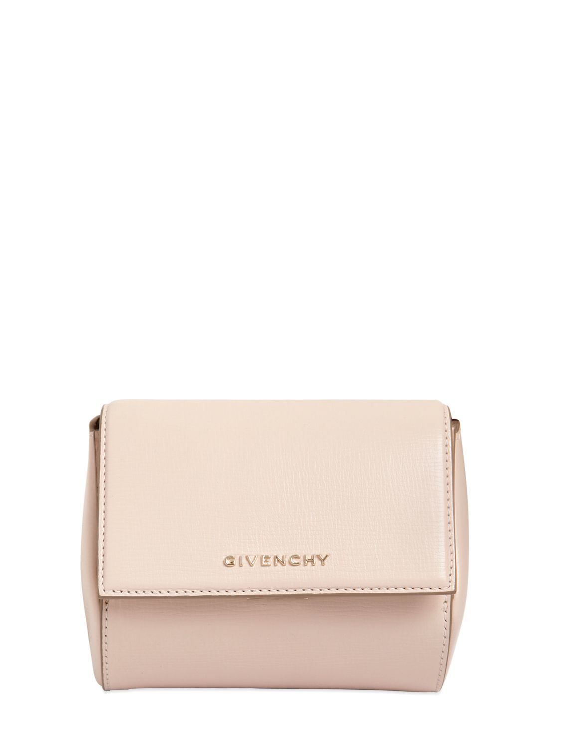 897d9885ea Givenchy Pandora Box Leather Clutch in Natural - Lyst