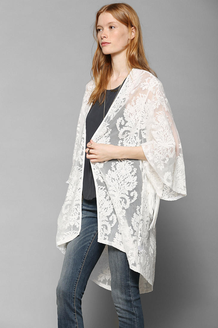 Urban outfitters Black Hearts Brigade Lace Kimono Jacket in White ...