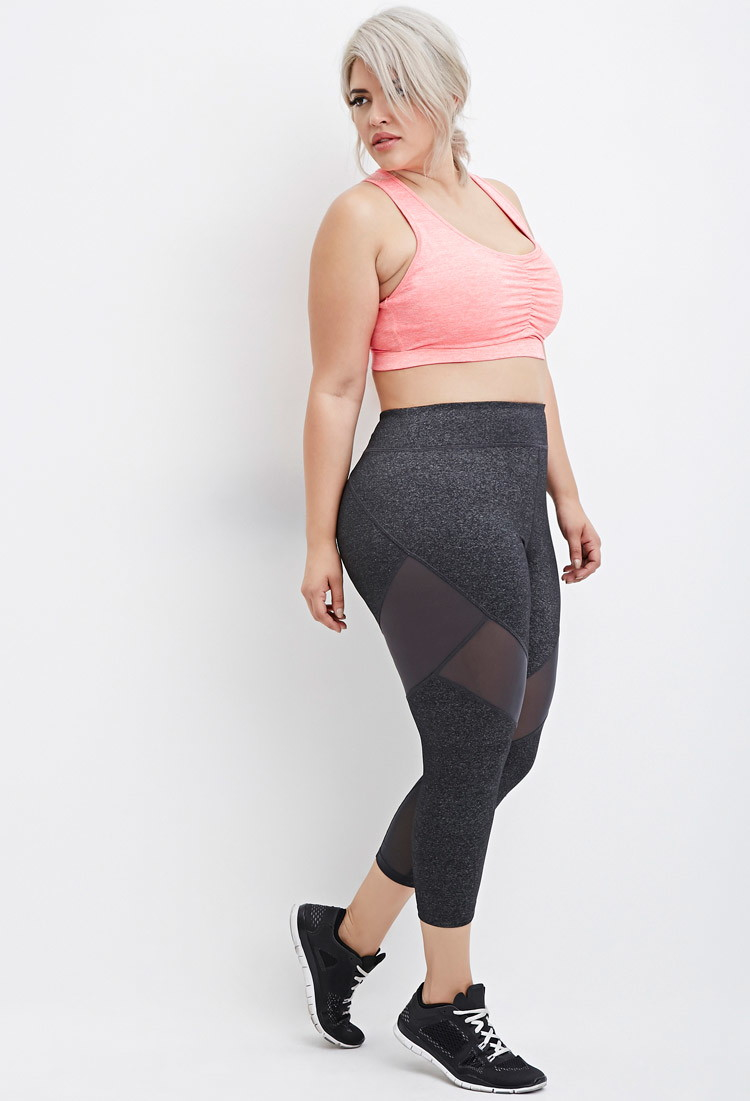 Forever 21 Plus Size Mesh-paneled Capri Athletic Leggings in Gray ...