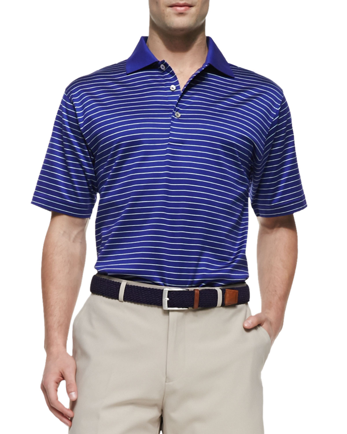 Peter millar mercy stripe polo shirt in blue for men lyst for Peter millar women s golf shirts