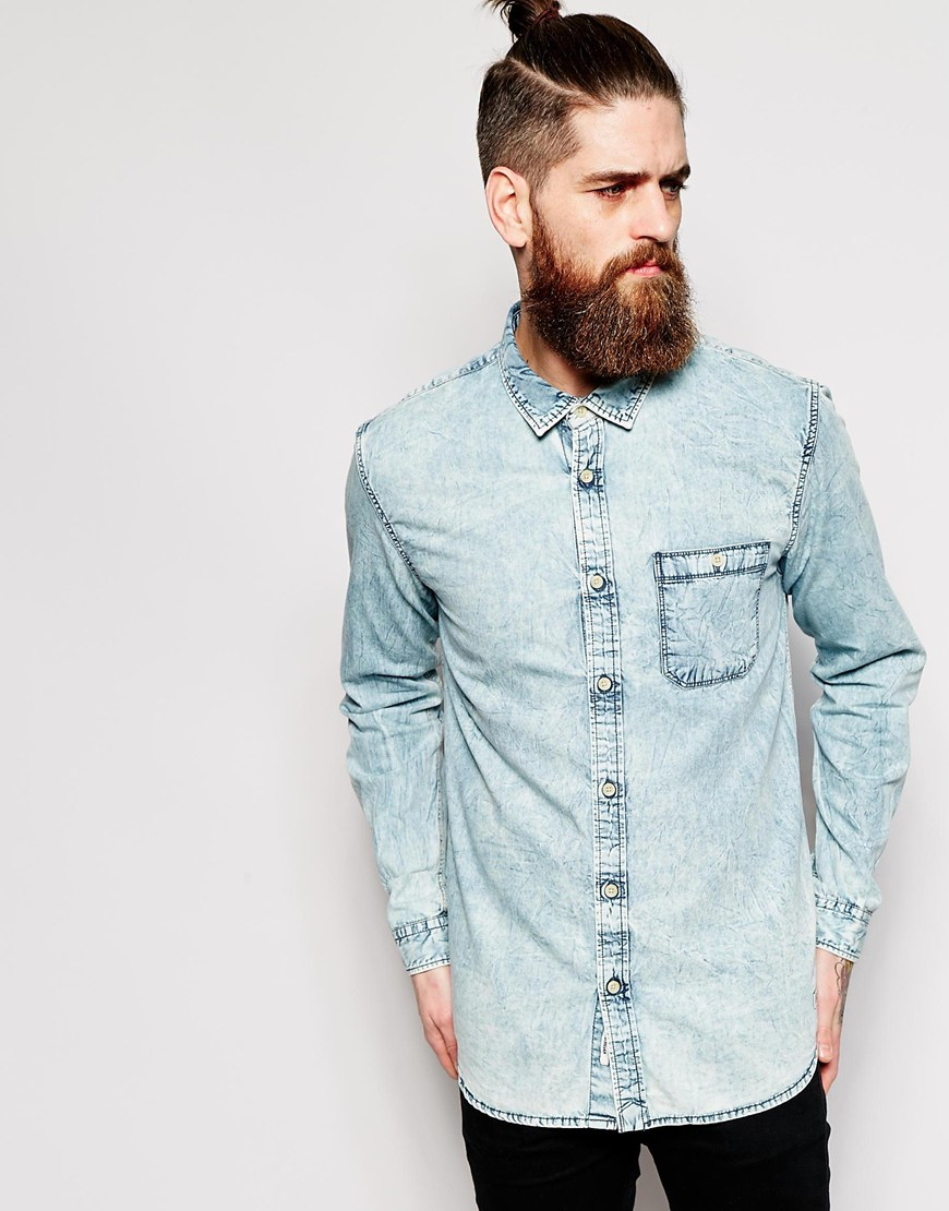 a7454289ab3 Lyst - Quiksilver Denim Shirt With Acid Wash Slim Fit in Blue for Men