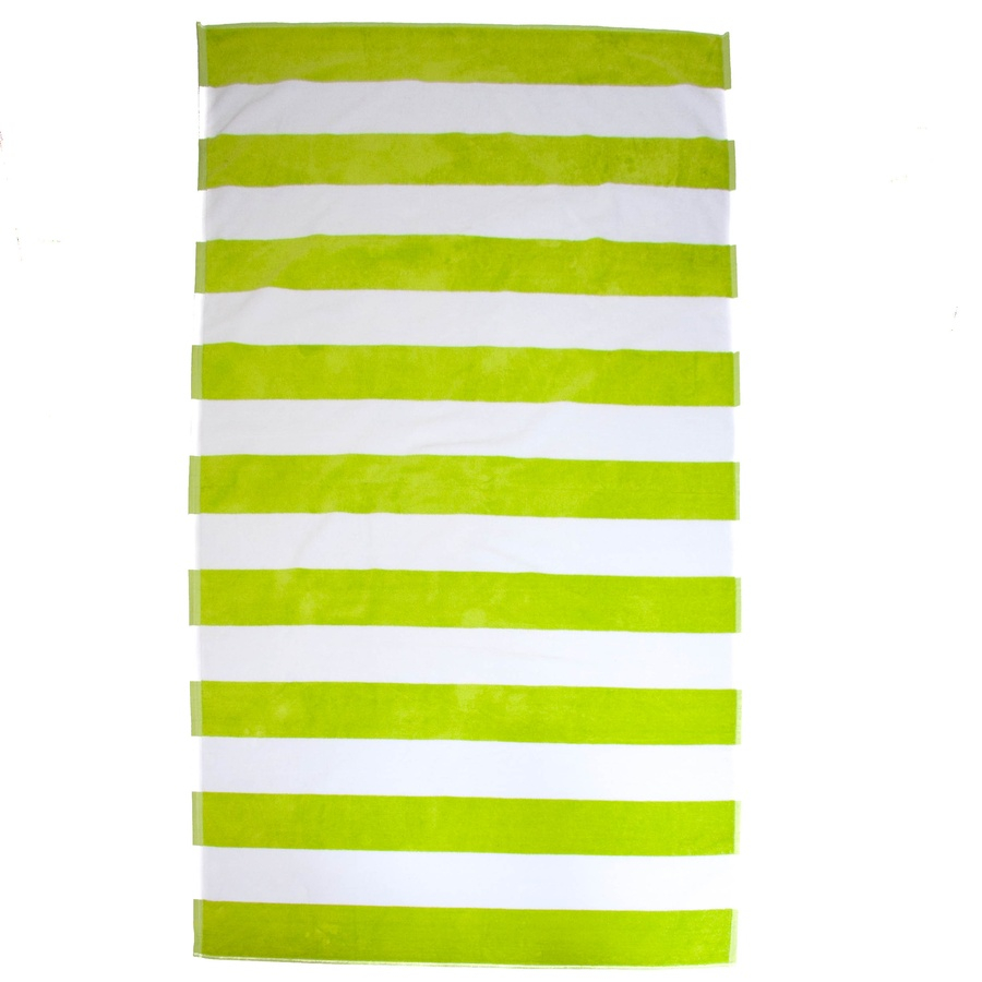 Tropical Lime Striped Egyptian Cotton Beach Towel In Green For Me