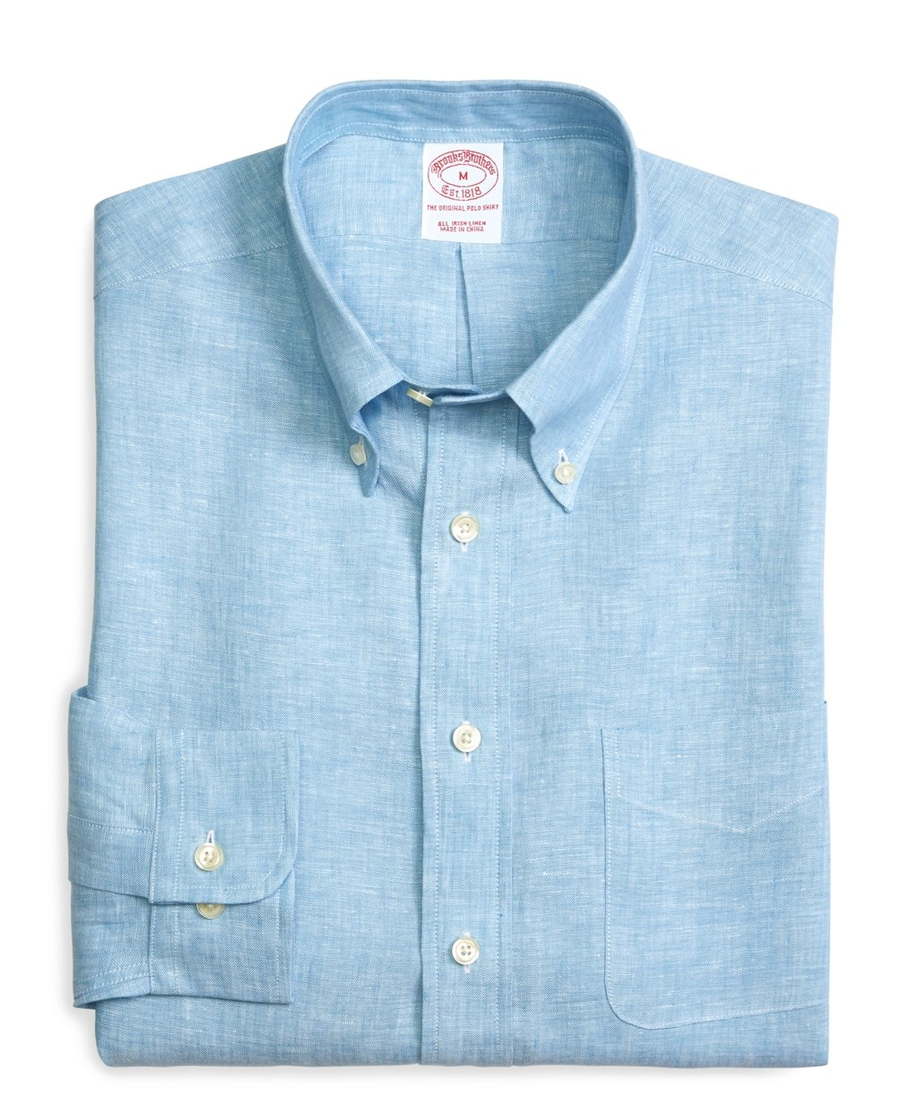 Brooks brothers slim fit solid linen sport shirt in blue Brooks brothers shirt size guide