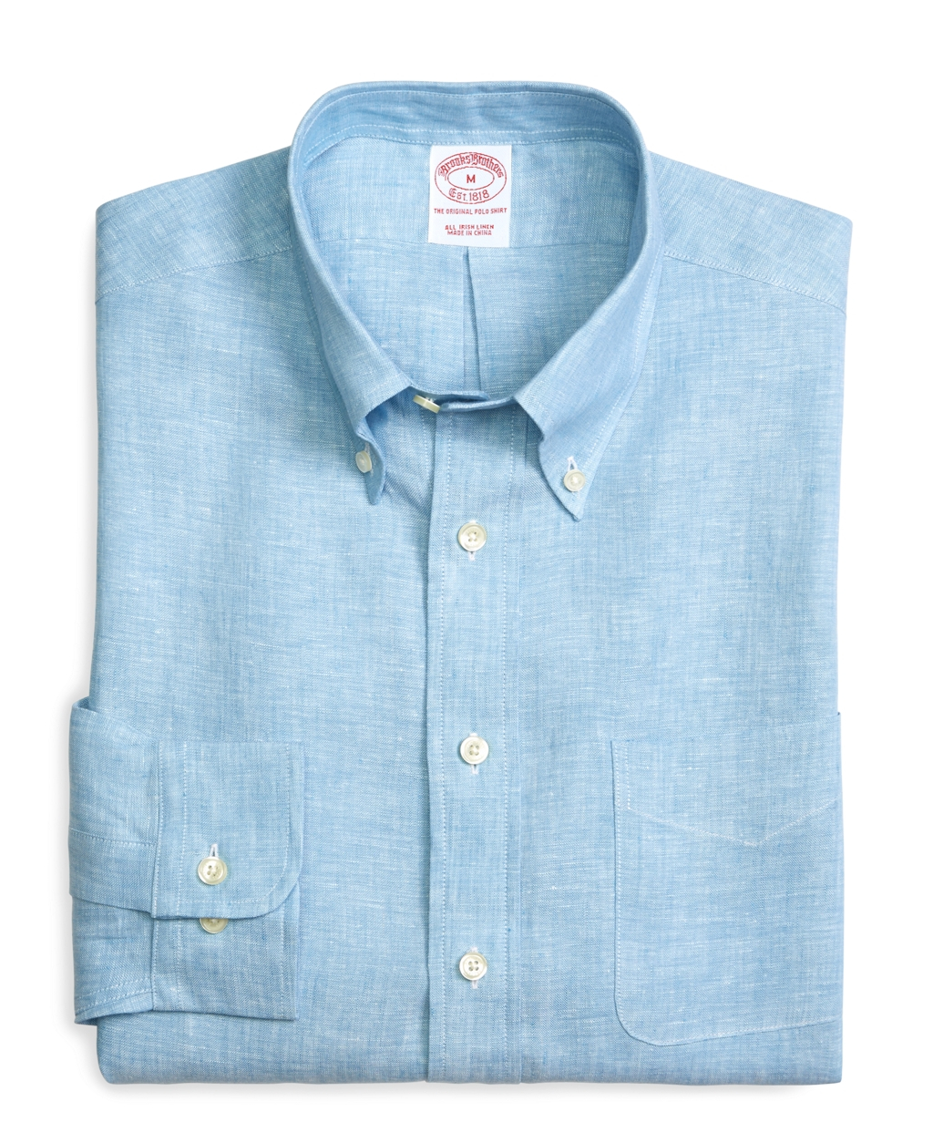 Brooks brothers slim fit solid linen sport shirt in blue for Brooks brothers dress shirt fit guide