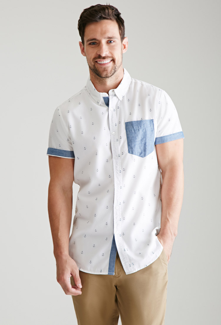 Forever 21 solid pocket anchor print shirt in white for for Mens short sleeve shirts