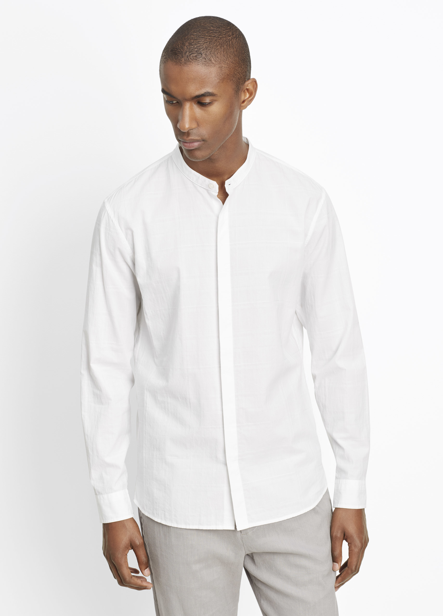 Lyst Vince Tonal Plaid Banded Collar Button Up In White For Men