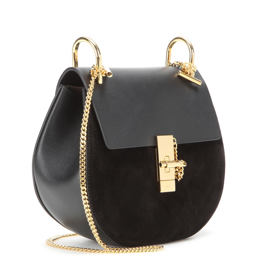 Chlo�� Drew Leather and Suede Shoulder Bag in Black | Lyst