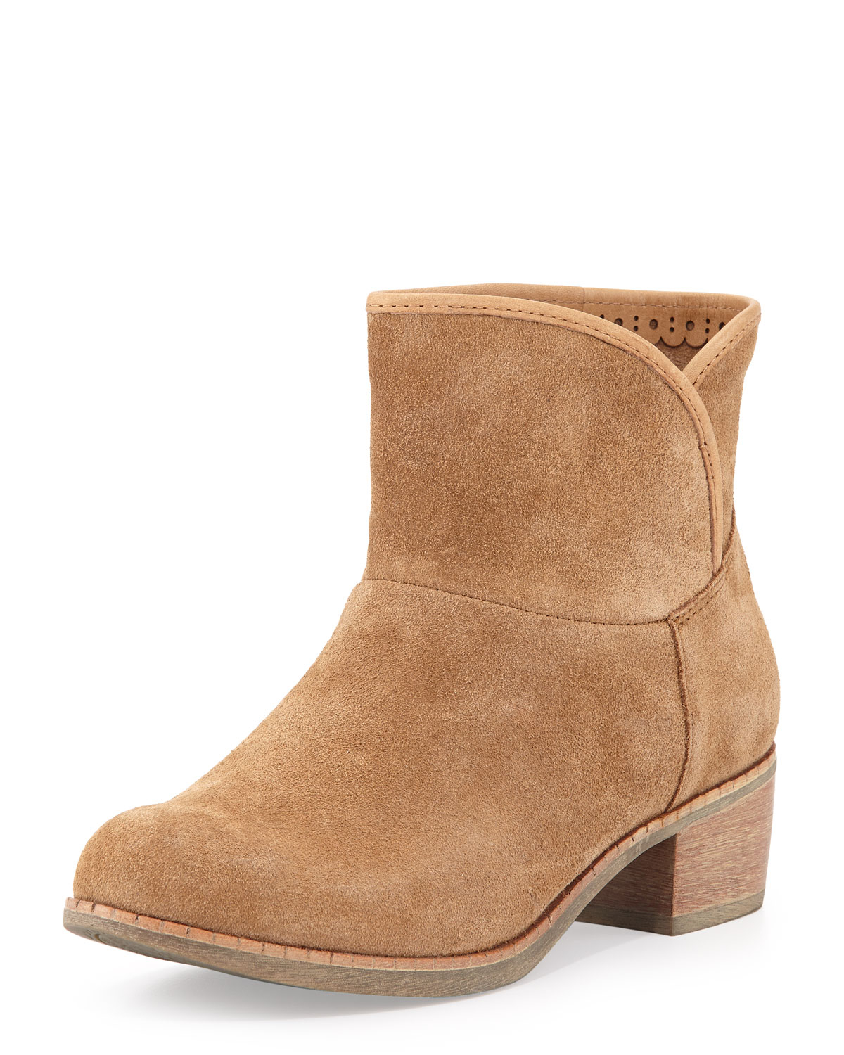 ugg furfootbed suede ankle boot chestnut in brown