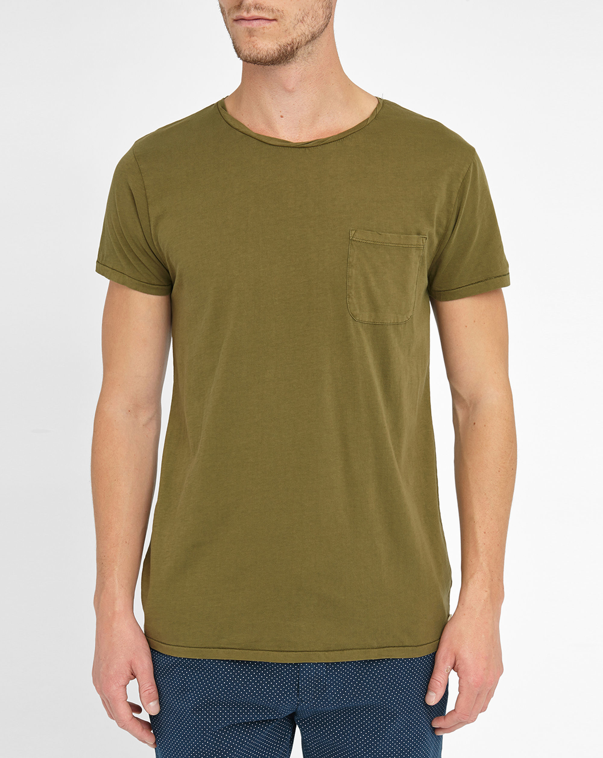 scotch soda green twisted collar pocket t shirt in green. Black Bedroom Furniture Sets. Home Design Ideas
