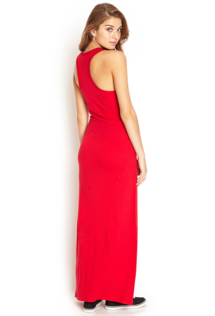 Forever 21 Solid Racerback Maxi Dress in Red - Lyst