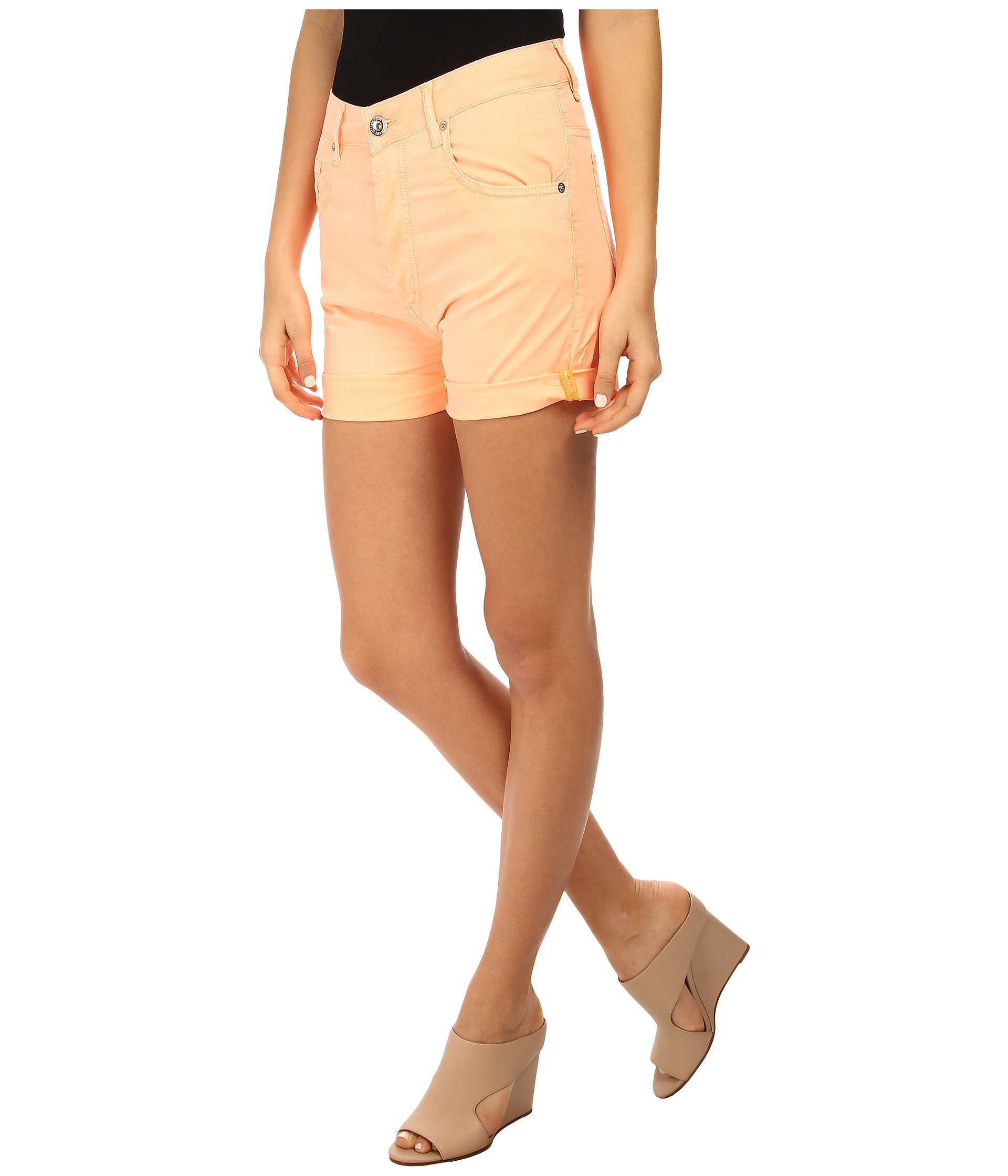 love moschino colored denim high waisted shorts in orange. Black Bedroom Furniture Sets. Home Design Ideas