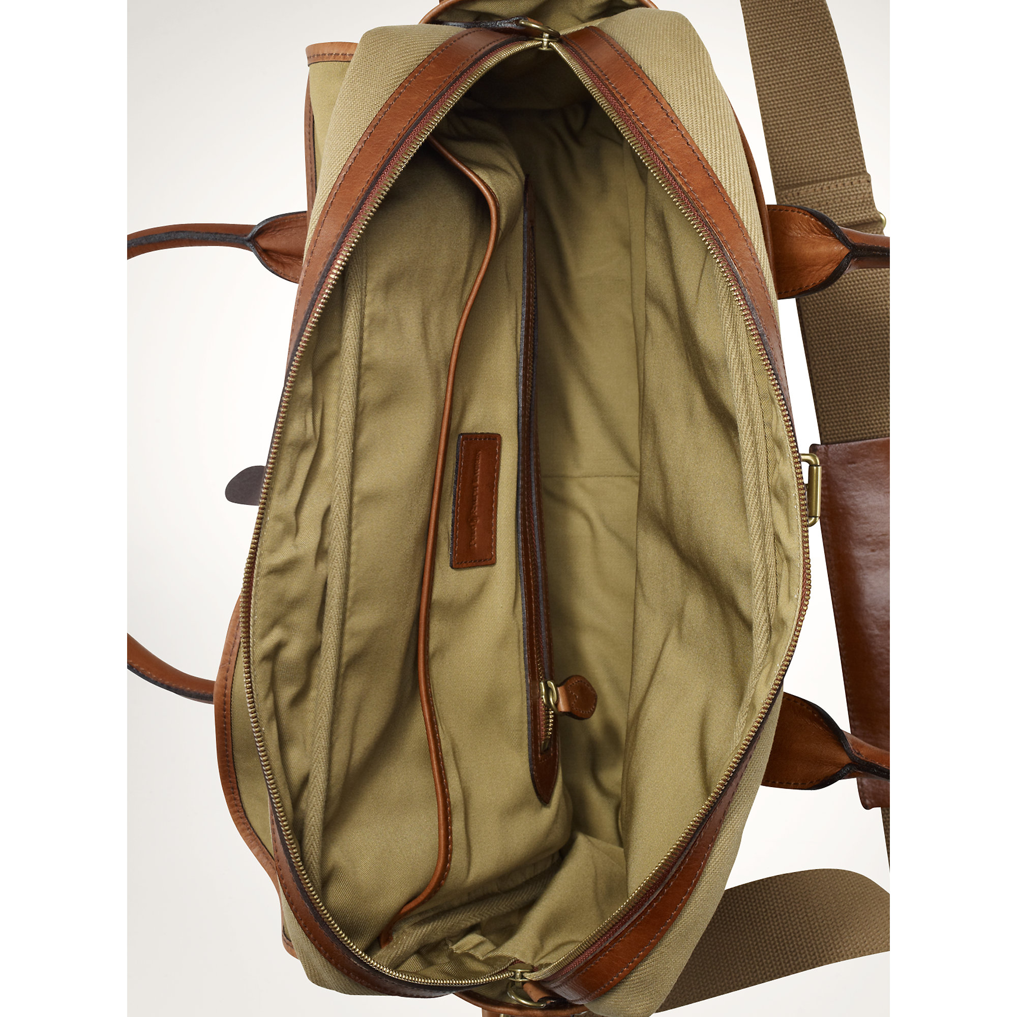 ... store lyst polo ralph lauren canvas leather messenger in natural for men  2dd71 ee432 d306057417252