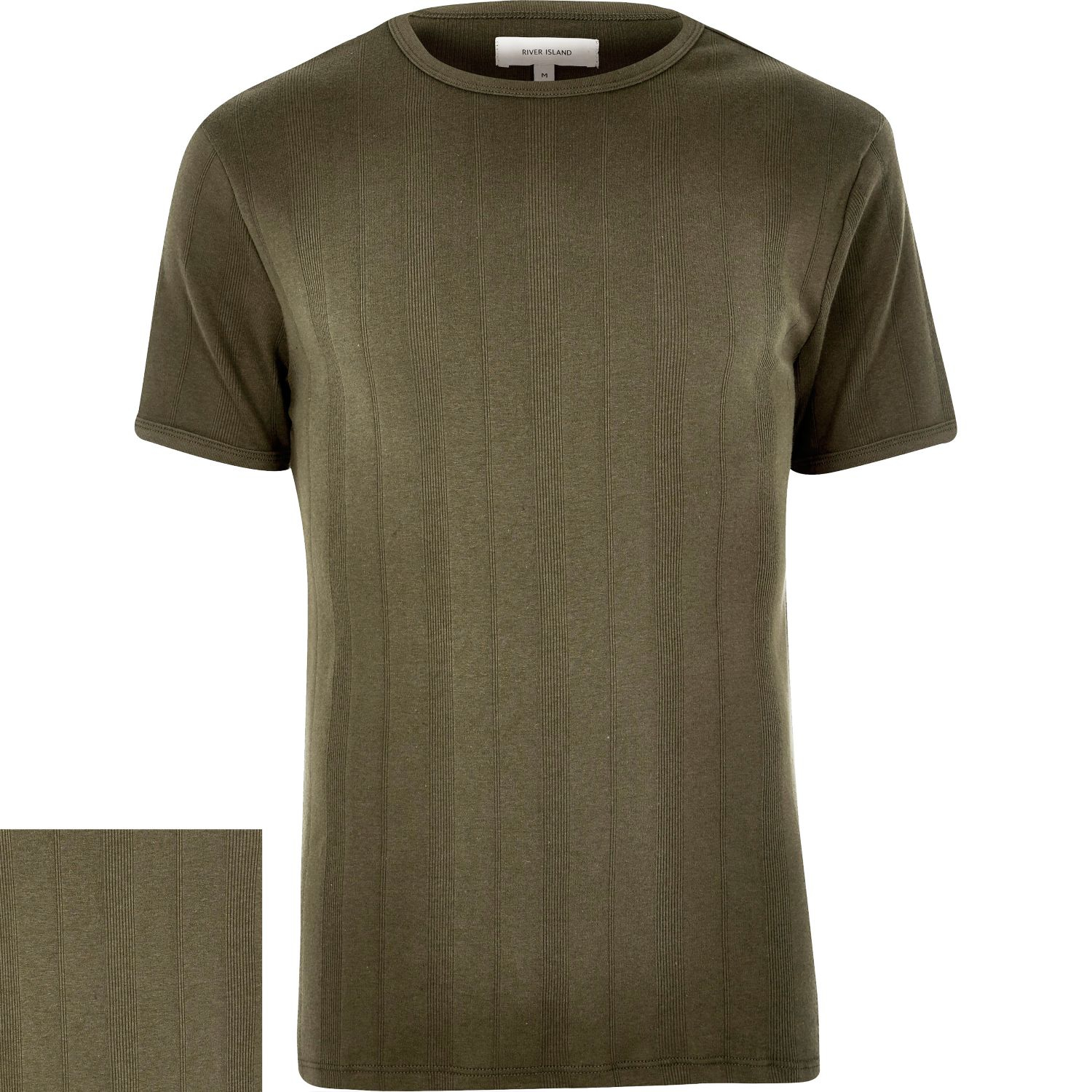 Lyst river island khaki ribbed slim t shirt in green for men for Mens ribbed t shirts