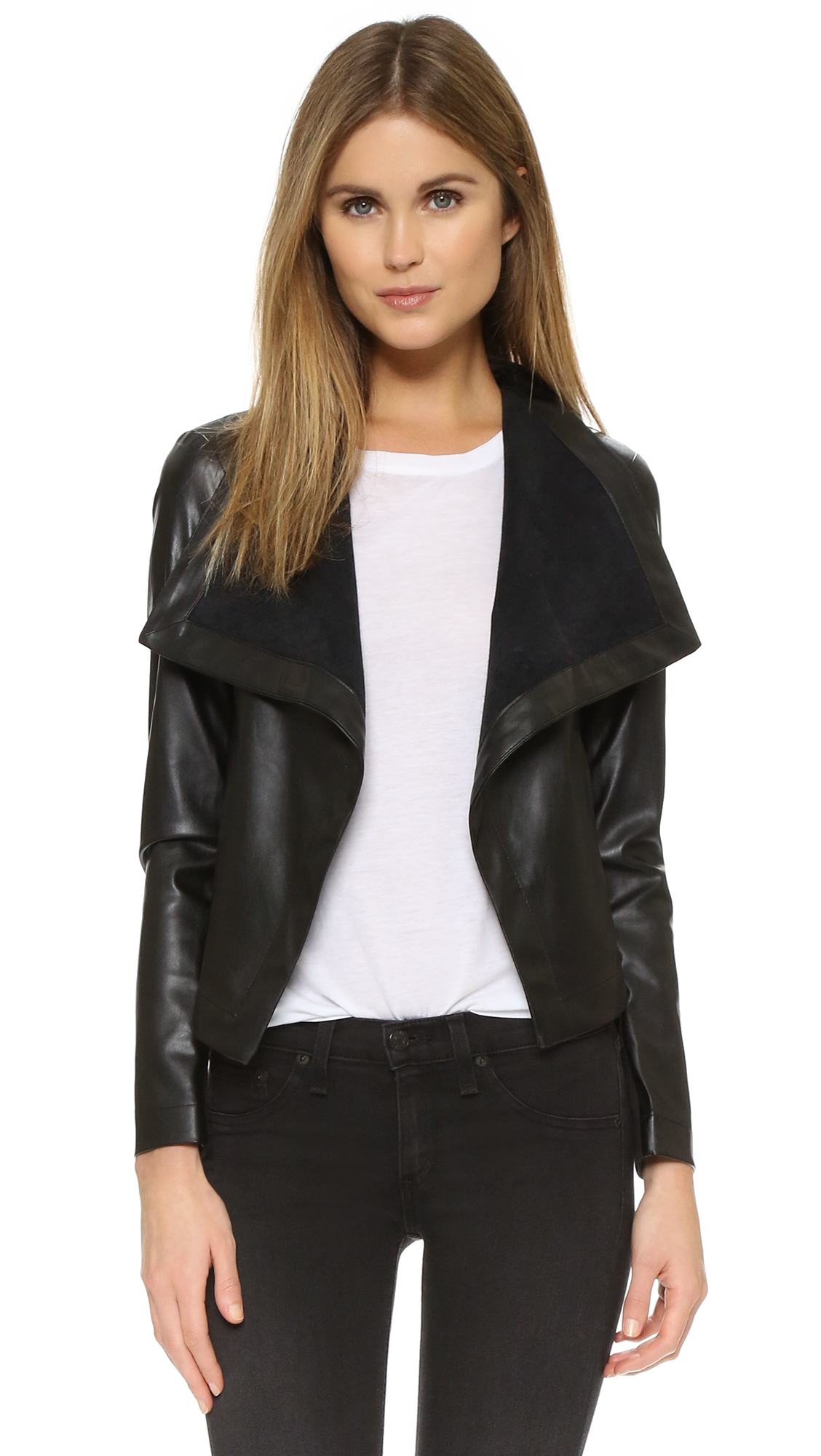 coats outerwear free zso zappos women shipped at faux drape leather drapes jacket