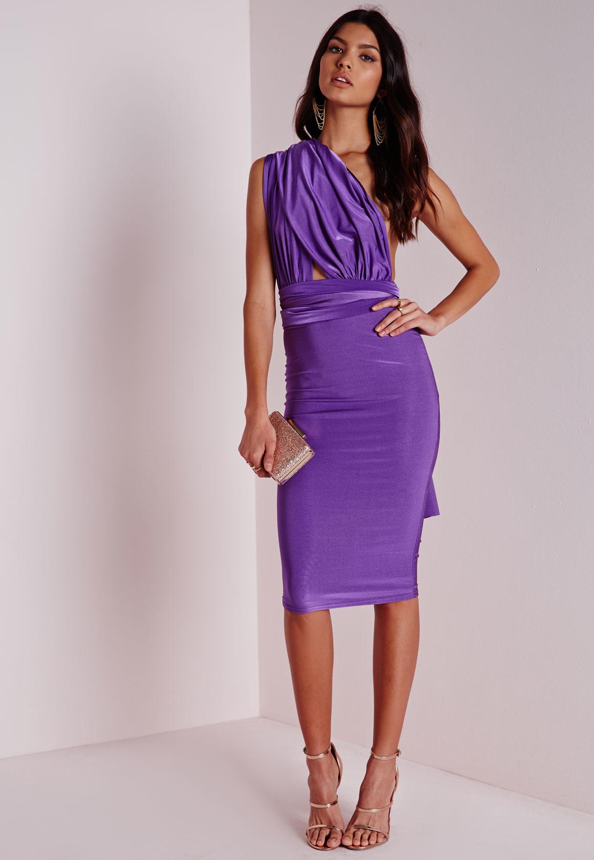 2a5fc0b1f1d1 Lyst - Missguided Do It Any Way Multiway Slinky Midi Dress Purple in ...