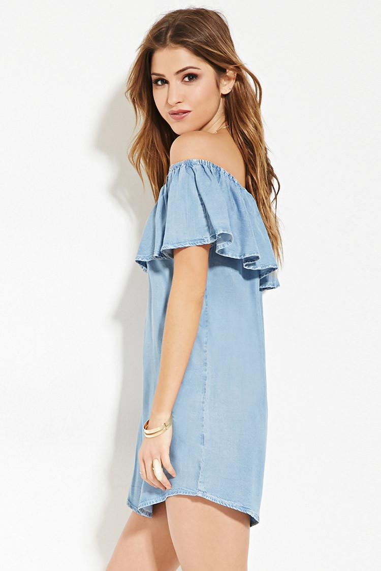 3edb690d784 Forever 21 Chambray Off-the-shoulder Dress in Blue - Lyst