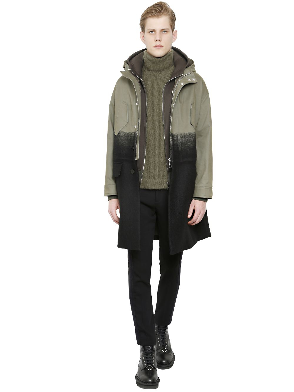 Neil barrett Cotton & Wool Parka With Sweatshirt in Green for Men ...