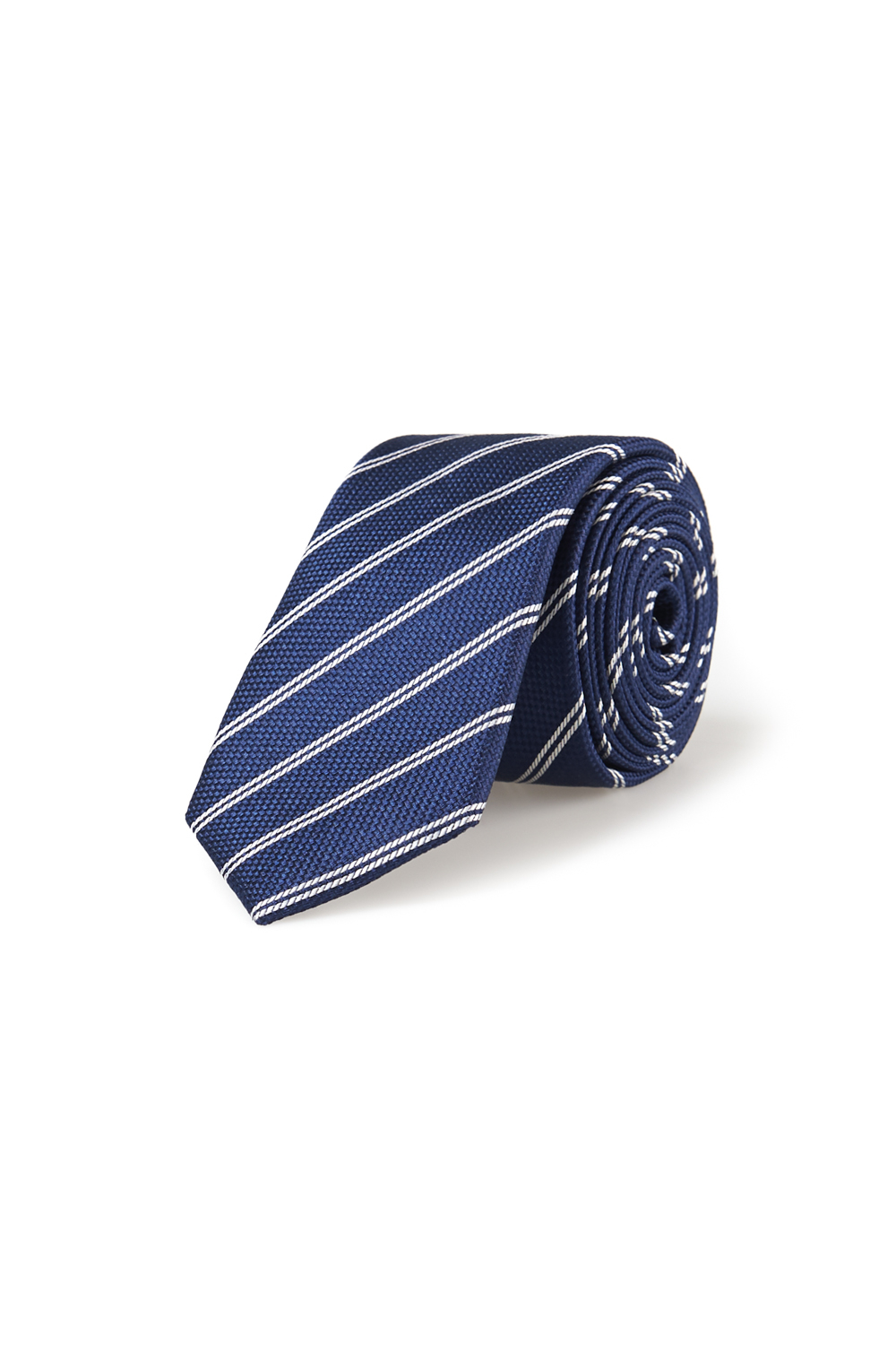French Connection Navy Twin Stripe Silk Tie In Blue For
