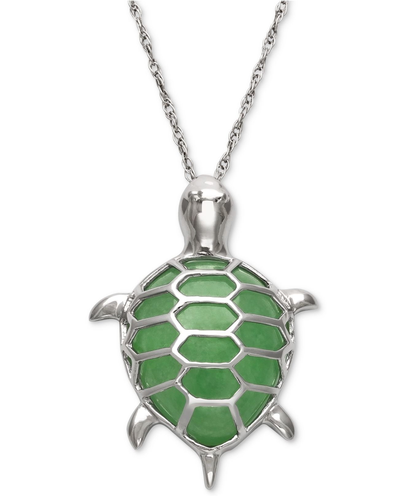 macy s dyed jadeite turtle pendant necklace in sterling