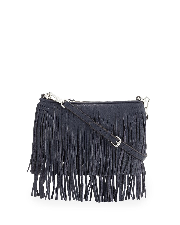 d91478a74 Rebecca Minkoff Finn Leather Fringed Cross-Body Bag in Blue - Lyst
