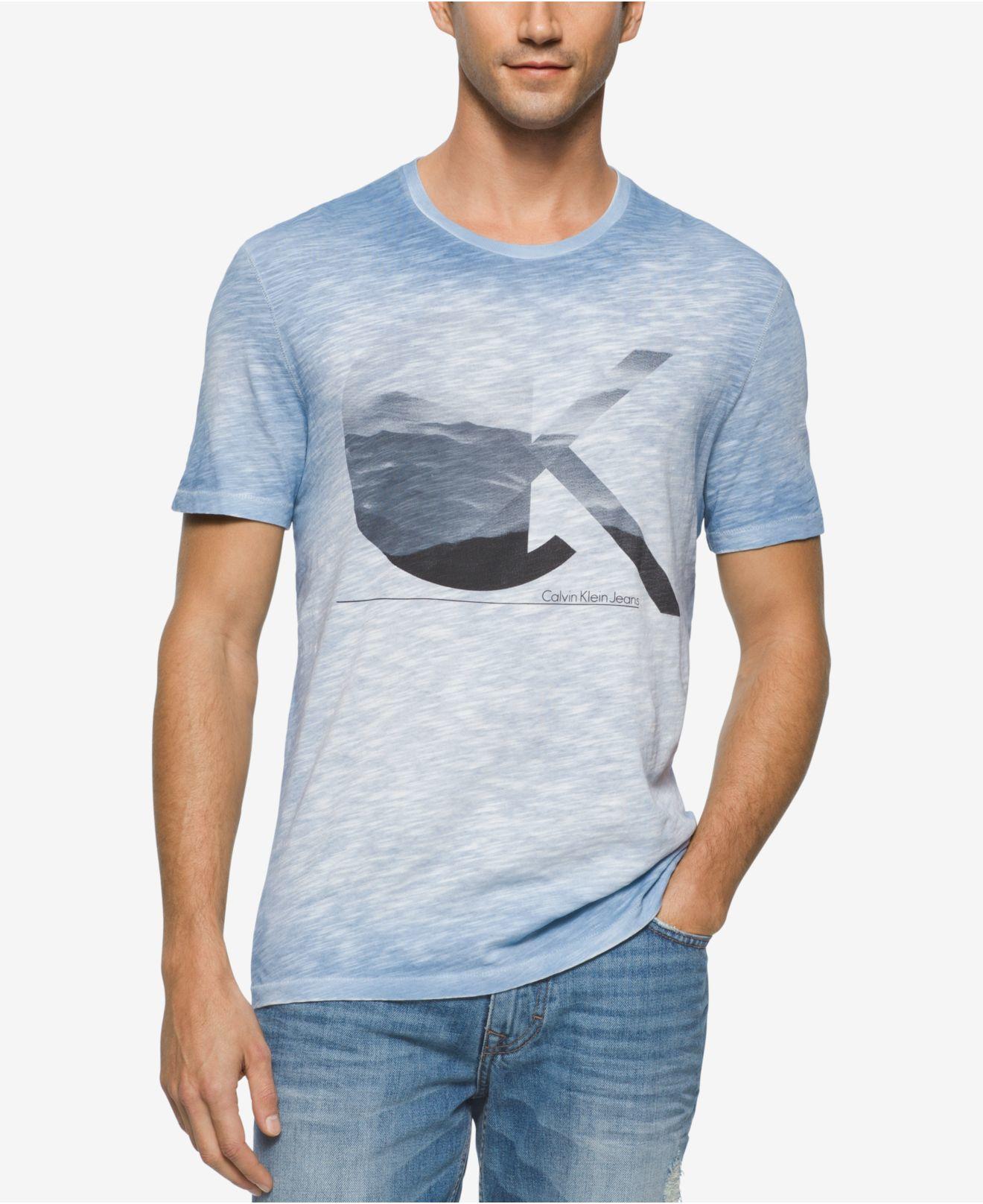 calvin klein jeans men 39 s clouds crew neck t shirt in blue for men lyst. Black Bedroom Furniture Sets. Home Design Ideas