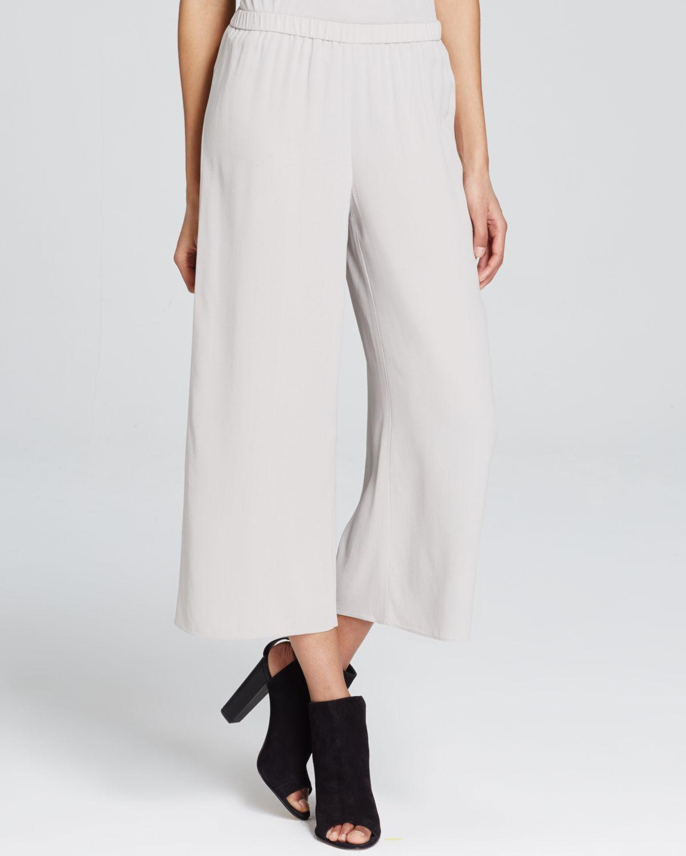 Eileen fisher Silk Wide Leg Cropped Pants in Metallic | Lyst