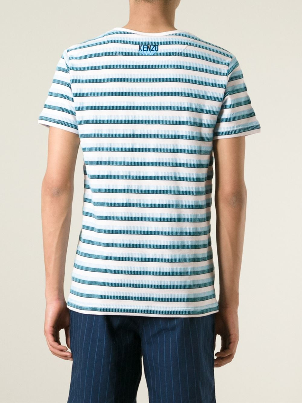 Kenzo striped t shirt in blue for men lyst for Purple and black striped t shirt