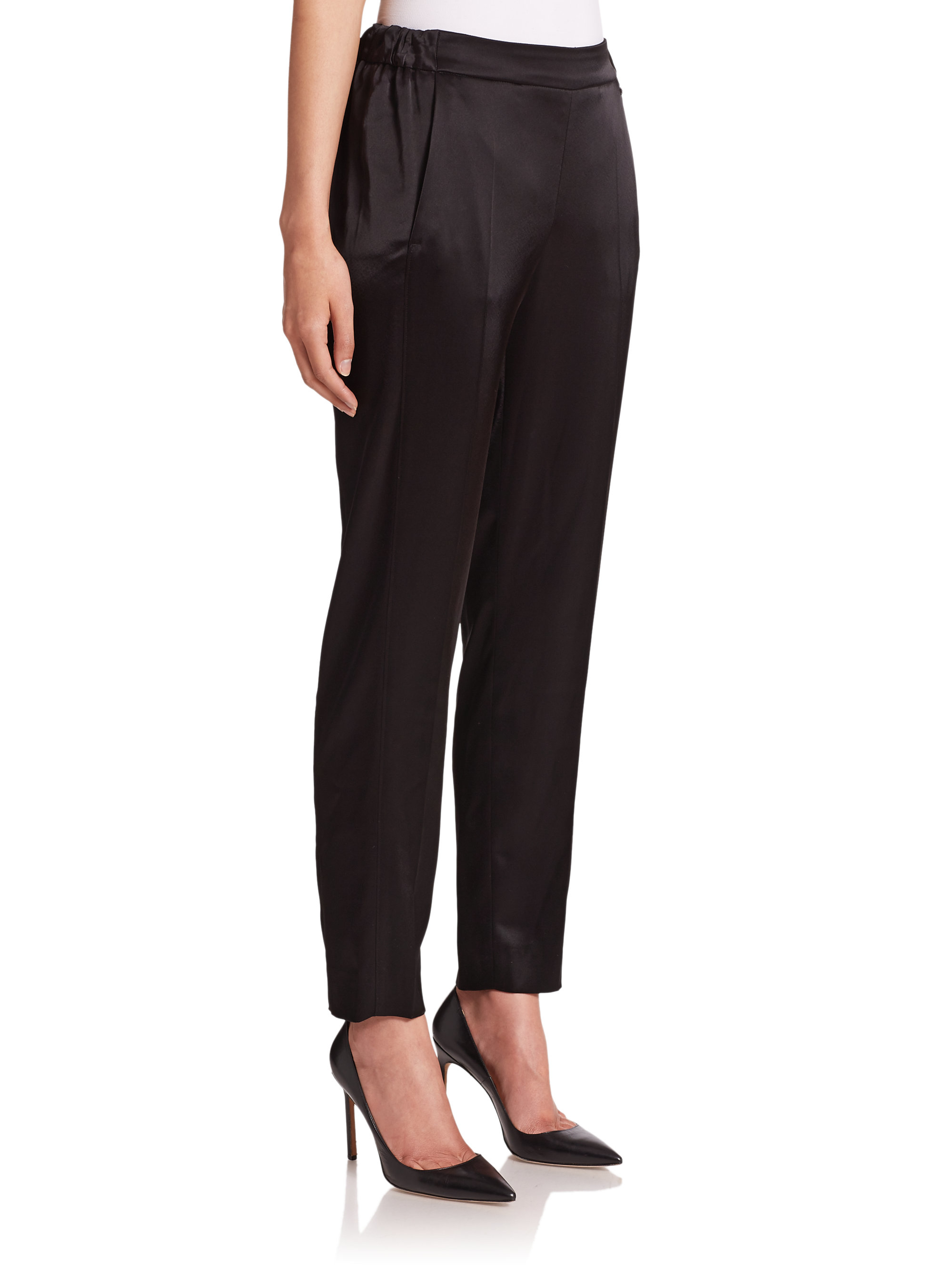 Escada Satin Evening Pants in Black | Lyst