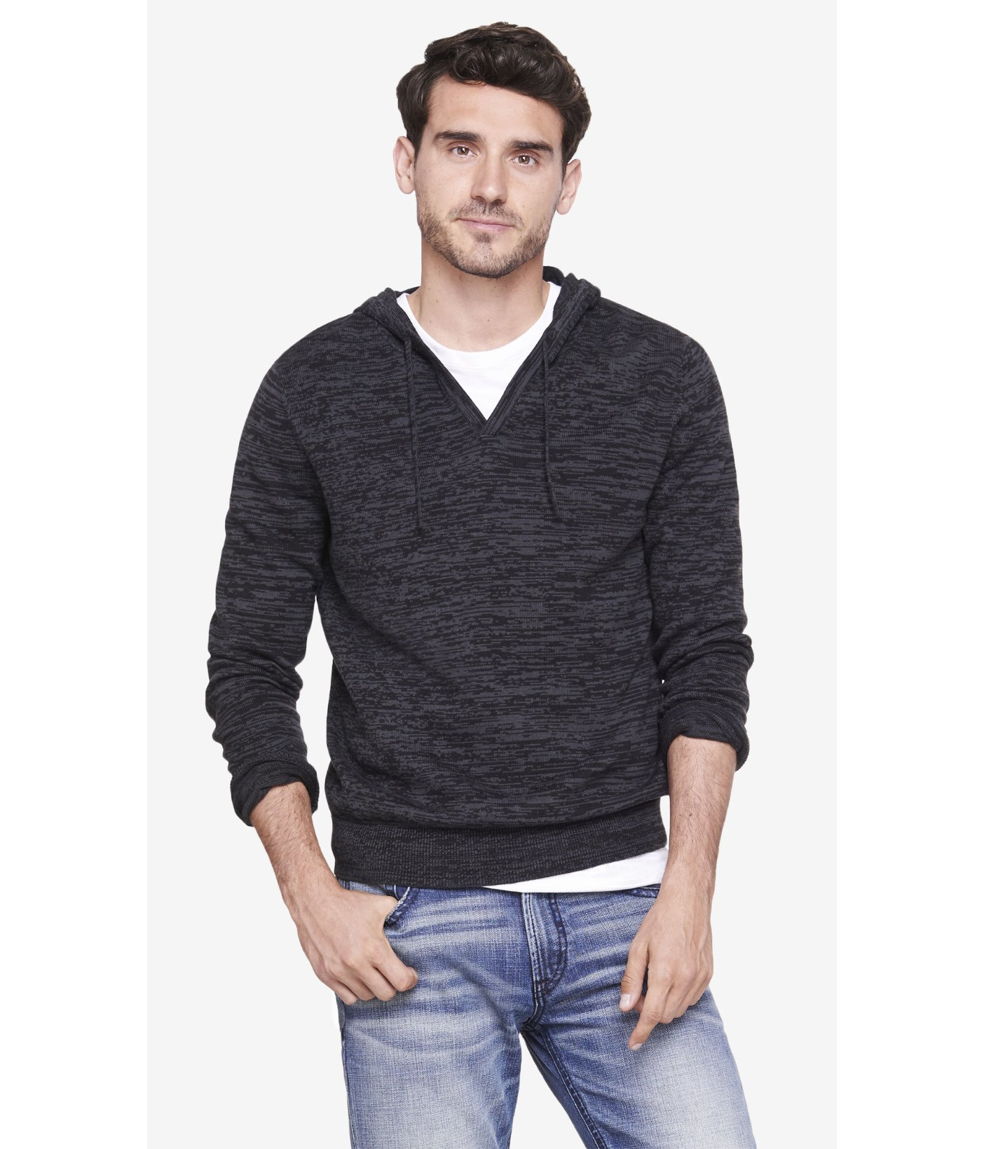 Express Marled V Neck Hooded Sweater in Gray for Men | Lyst