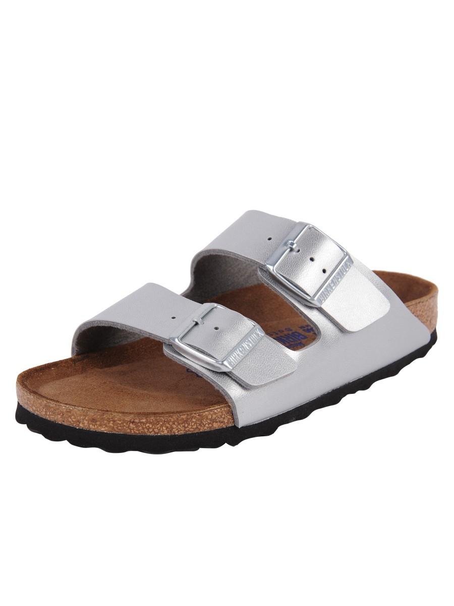 birkenstock arizona suede sandals in silver lyst. Black Bedroom Furniture Sets. Home Design Ideas