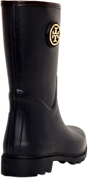 Tory Burch 20mm Maureen Rubber Rain Boots In Black Navy