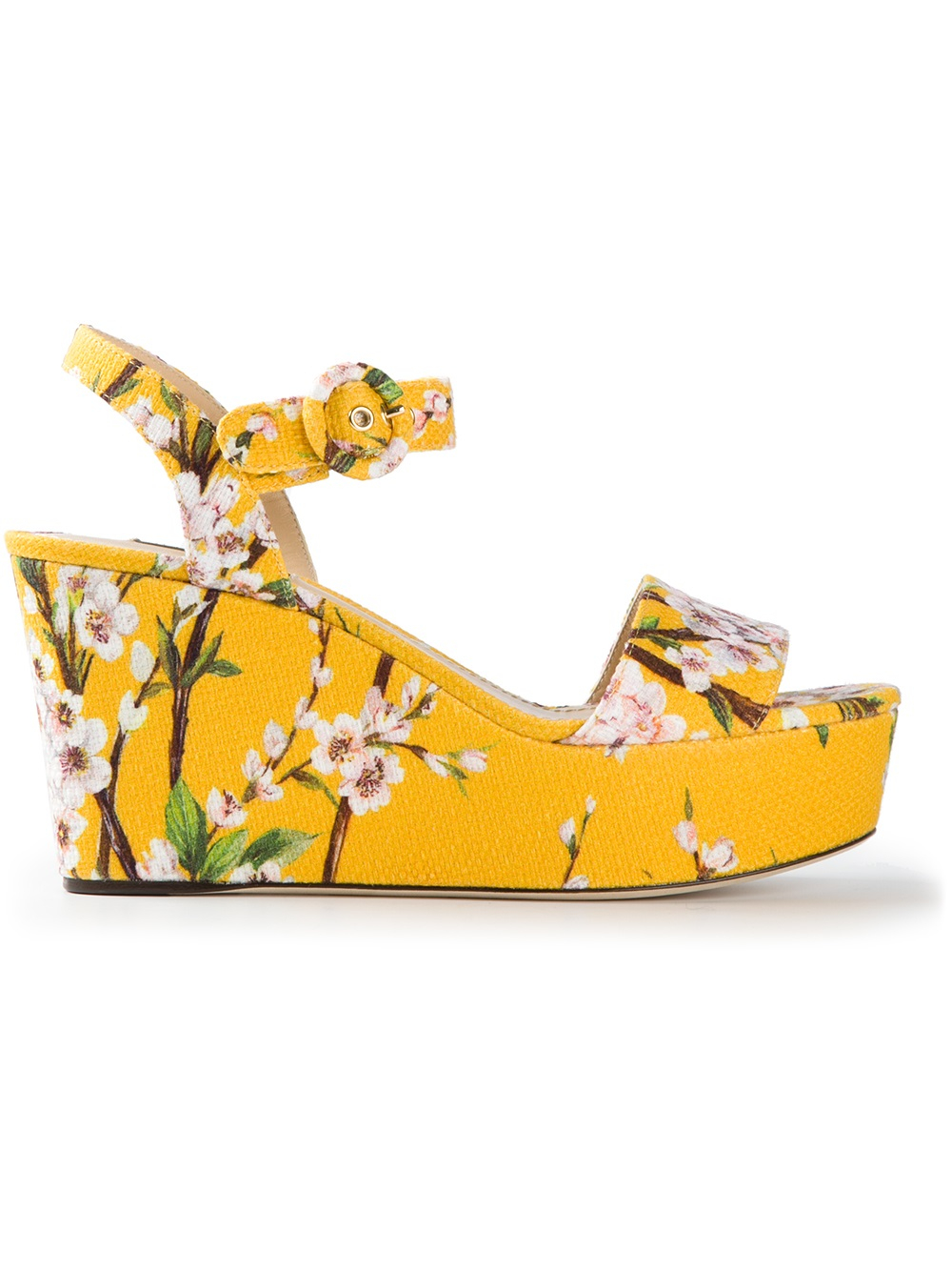 62a3695d4a1 Lyst - Dolce   Gabbana Floral Print Wedge Sandal in Yellow