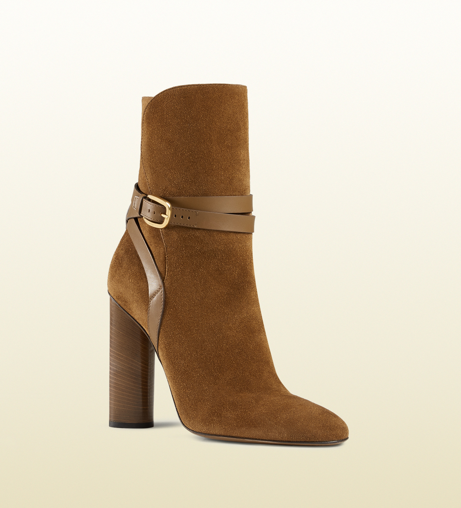 gucci suede ankle boot in brown lyst