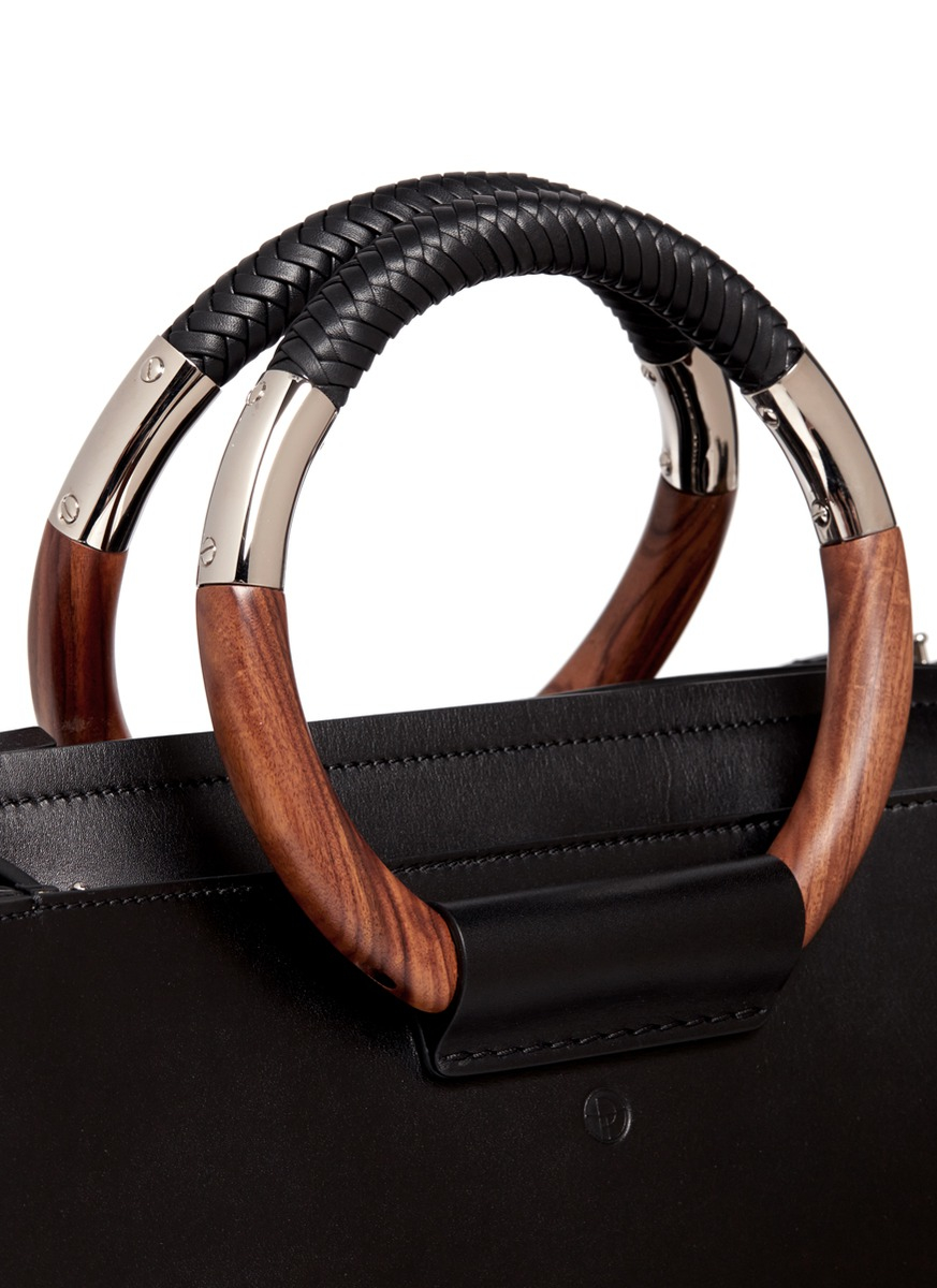 The Row Classic Wooden Handle Leather Box Bag In Black