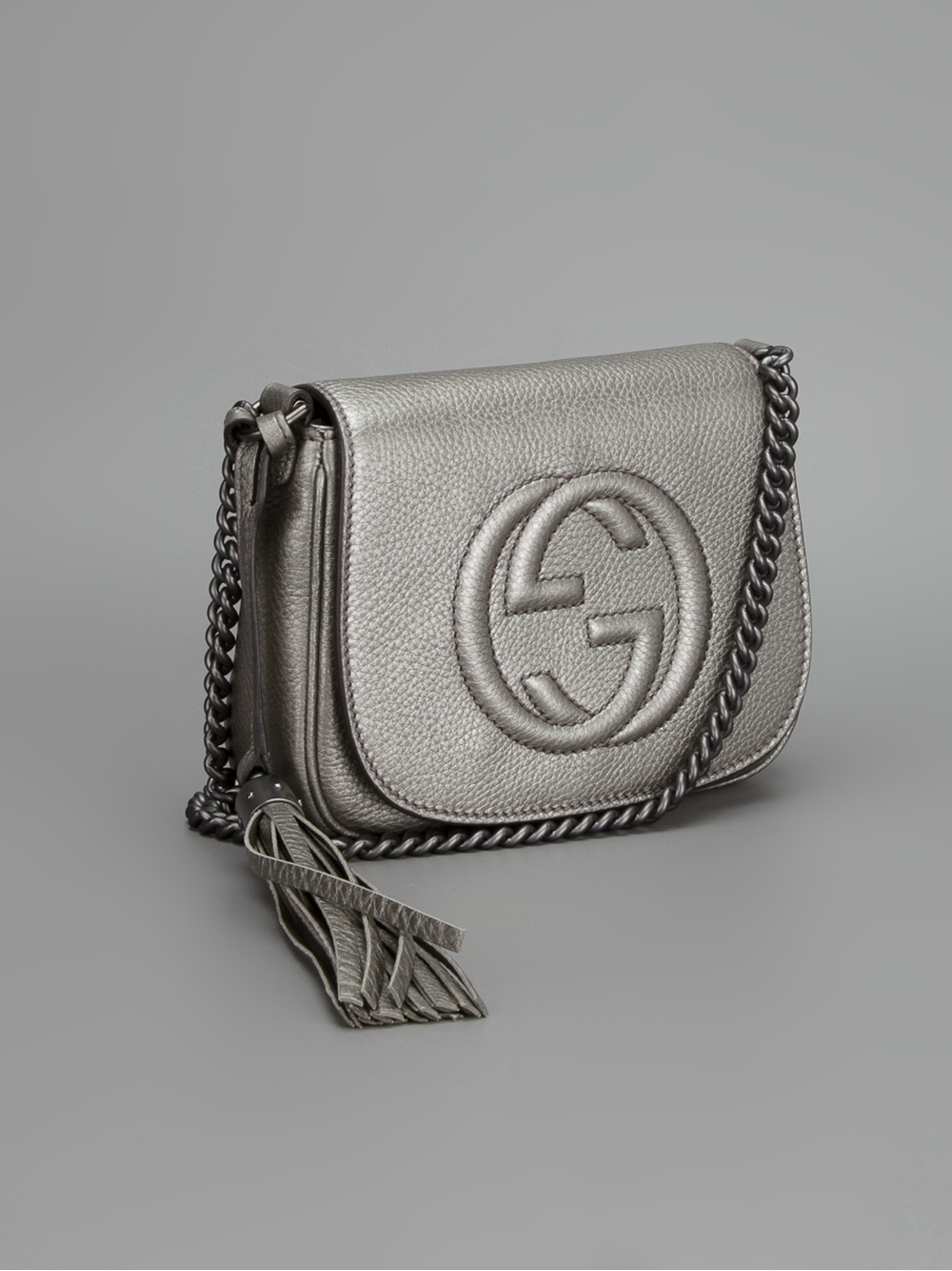 Lyst Gucci Small Soho Shoulder Bag In Gray