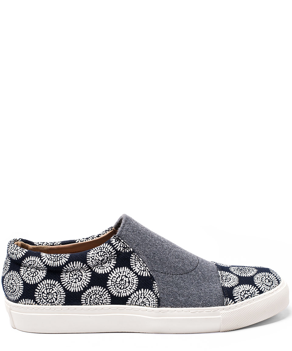 c895a8cda91 Lyst - Dries Van Noten Navy Print Panel Slip-on Skate Shoes in Blue ...