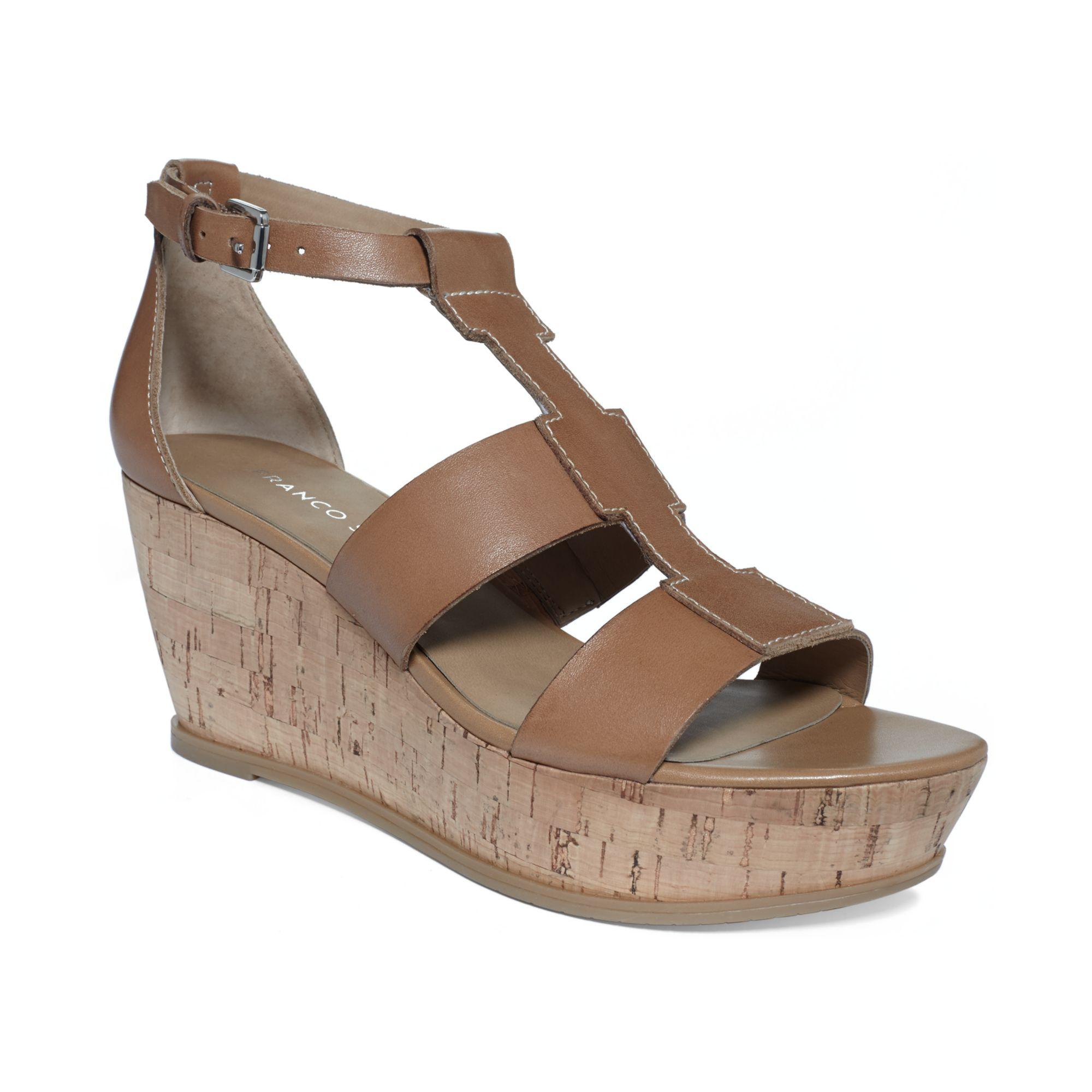 franco sarto falco cork wedge sandals in brown camelot