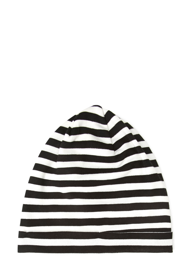 90a5577d377 Lyst - Forever 21 Slouchy Striped Beanie in White