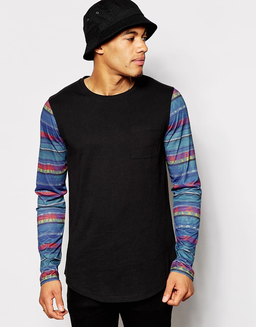 Asos longline long sleeve t shirt with printed sleeves in for Long sleeve printed t shirts