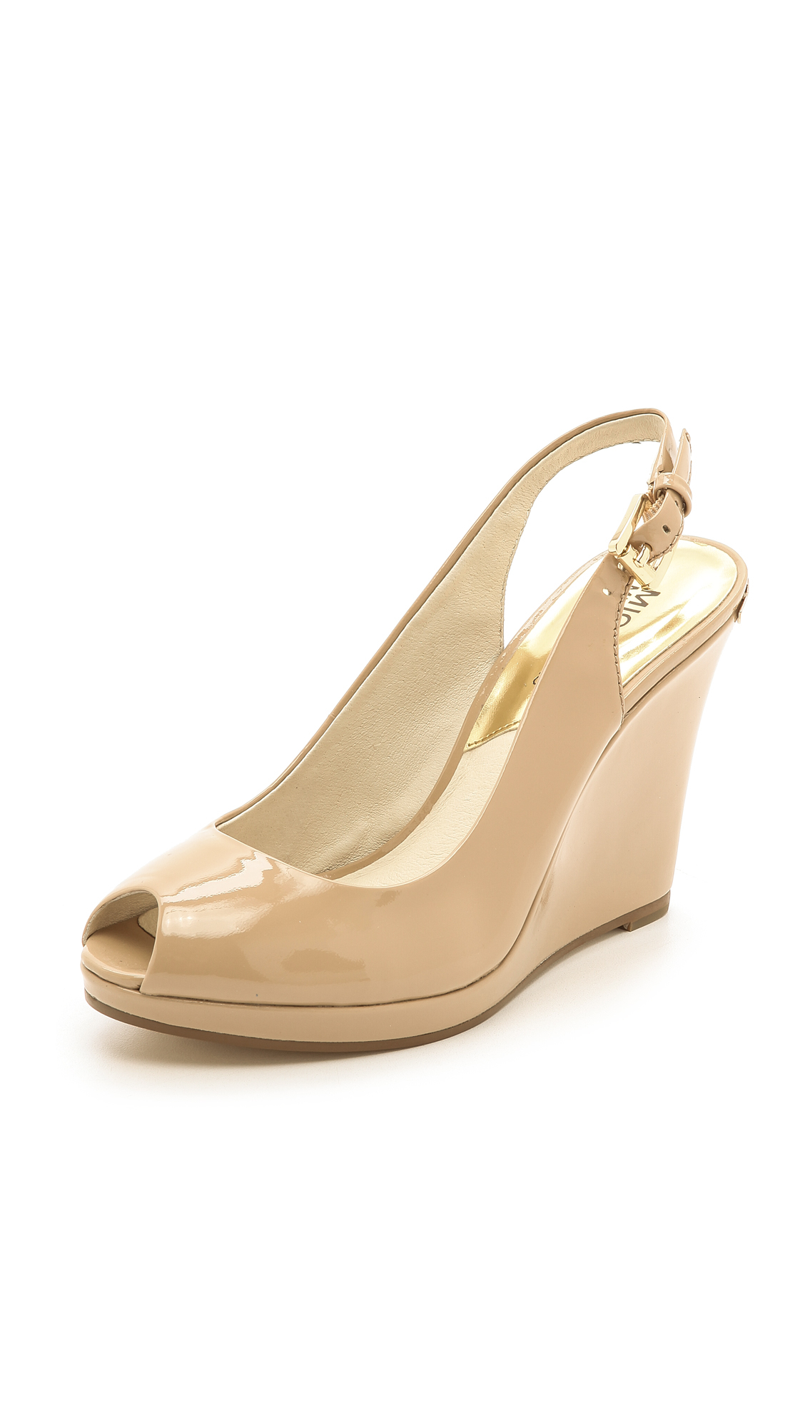 Lyst   Michael Michael Kors Keegan Slingback Wedges Nude In Natural